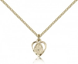 Women's Heart Shaped 14kt Gold Filled St. Anthony of Padua Pendant [BL6256]