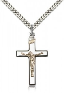 Crucifix Pendant, Two-Tone [BL5403]