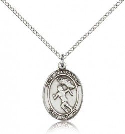 St. Christopher Track & Field Medal, Sterling Silver, Medium [BL1486]