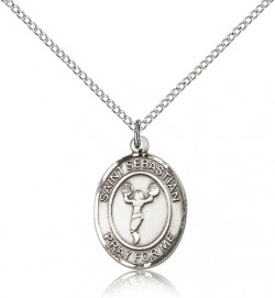 St. Sebastian Cheerleading Medal, Sterling Silver, Medium [BL3391]