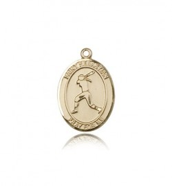 St. Sebastian Softball Medal, 14 Karat Gold, Medium [BL3563]