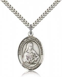 Our Lady of the Railroad Medal, Sterling Silver, Large [BL0468]