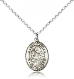 St. Clare of Assisi Medal, Sterling Silver, Medium [BL1518]