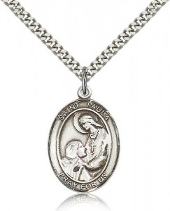St. Paula Medal, Sterling Silver, Large [BL3030]