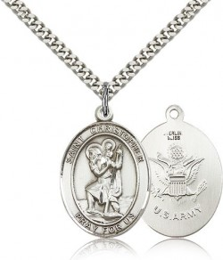 St. Christopher Army Medal, Sterling Silver, Large [BL1141]