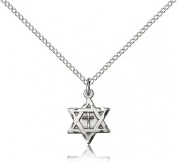 Star of David with Cross Pendant, Sterling Silver [BL5153]