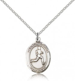St. Christopher Track and Field Medal, Sterling Silver, Medium [BL1479]