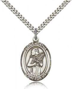 Men's Sterling Silver Saint Agatha Oval Medal [BL0591]