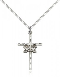 Doves Cross Pendant, Sterling Silver [BL6608]