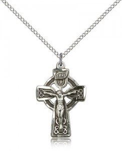 Celtic Crucifix Pendant, Sterling Silver [BL6449]