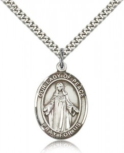Our Lady of Peace Medal, Sterling Silver, Large [BL0414]
