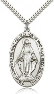 Miraculous Medal, Sterling Silver [BL6535]