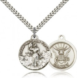 St. Joan of Arc Navy Medal, Sterling Silver [BL4214]