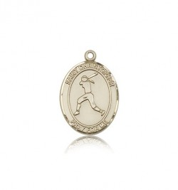 St. Christopher Softball Medal, 14 Karat Gold, Medium [BL1414]