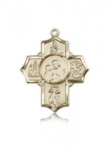 5 Way Cross Firefighter Medal, 14 Karat Gold [BL6521]