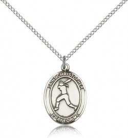 St. Christopher Softball Medal, Sterling Silver, Medium [BL1424]