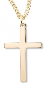 Women's or Boy's 14kt Gold Over Sterling Silver Plain Cross Necklace + 20 Inch Gold Plated Chain & Clasp [HMR0419]