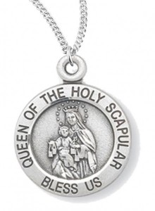 Women's Queen of the Holy Scapular Necklace (Medium), Sterling Silver with Chain Options [HMR0965]