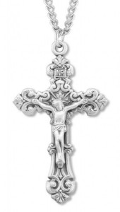 Men's Sterling Silver Fancy Scroll Crucifix Necklace with Chain Options [HMR0735]