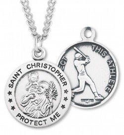 Round Men's St. Christopher Baseball Necklace With Chain [HMS1004]