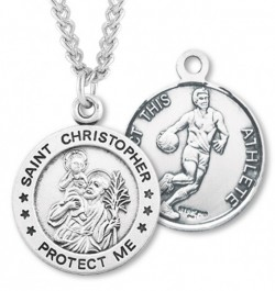 Round Men's St. Christopher Basketball Necklace With Chain [HMS1000]