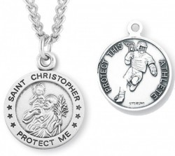 Round Men's St. Christopher Lacrosse Necklace With Chain [HMS1008]