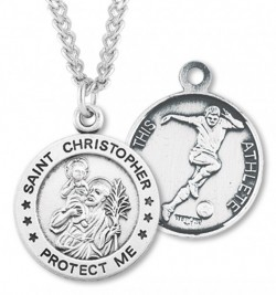 Round Men's St. Christopher Soccer Necklace With Chain [HMS1001]