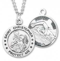 Round Boy's St. Christopher Swimming Necklace With Chain [HMS1010]