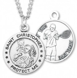 Round Boy's St. Christopher Tennis Necklace With Chain [HMS1006]