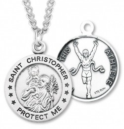Round Boy's St. Christopher Track Necklace With Chain [HMS1005]