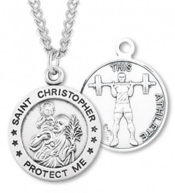 Round Boy's St. Christopher Weight Lifting Necklace With Chain [HMS1011]