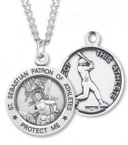 Round Men's Saint Sebastian Baseball Necklace [HMS1041]