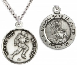 Round Men's St. Sebastian Football Necklace With Chain [HMS1040]