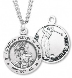 Round Men's St. Sebastian Golf Necklace With Chain [HMS1043]