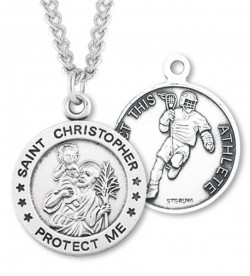 Round Boy's St. Sebastian Lacrosse Necklace With Chain [HMS1042]