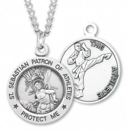 Round Boy's St. Sebastian Martial Arts Necklace With Chain [HMS1045]