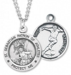 Round Men's St. Sebastian Soccer Necklace With Chain [HMS1038]