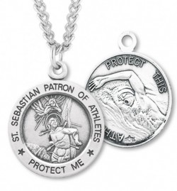 Round Men's St. Sebastian Swimming Necklace With Chain [HMS1047]