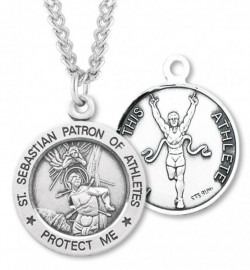 Round Boy's St. Sebastian Track Necklace With Chain [HMS1046]
