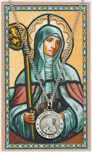 Round St. Brigid of Ireland Medal and Prayer Card Set [MPC0036]
