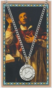 Round St. Charles Borromeo Medal and Prayer Card Set [MPC0041]