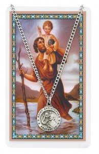 Round St. Christopher Medal and Prayer Card Set [MPC0039]