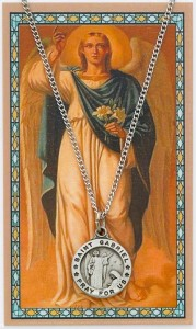 Round St. Gabriel The Archangel Medal and Prayer Card Set [MPC0074]