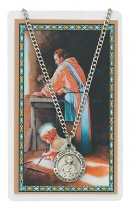Round St. Joseph The Worker Medal and Prayer Card [MPCMV007]