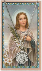 Round St. Maria Goretti Medal and Prayer Card Set [MPC0053]