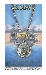 Round St. Michael Navy Medal and Prayer Card Set [MPC0072]
