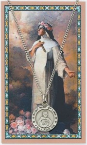 Round St. Rose of Lima Medal and Prayer Card Set [MPC0062]