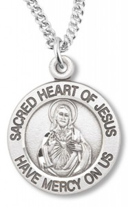 Womens Sacred Heart of Jesus Necklace Round, Sterling Silver with Chain Options [HMR0649]