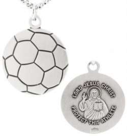 Soccer Ball Shape Necklace with Jesus Figure Back in Sterling Silver [HMS1110]