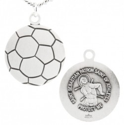 Soccer Ball Shaped Necklace with Saint Sebastian Back in  Sterling Silver [HMS1101]